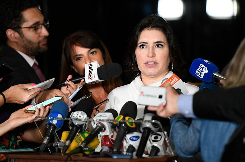 Senadora Simone Tebet (MDB-RS) concede entrevista.  Foto: Marcos Oliveira/Agência Senado