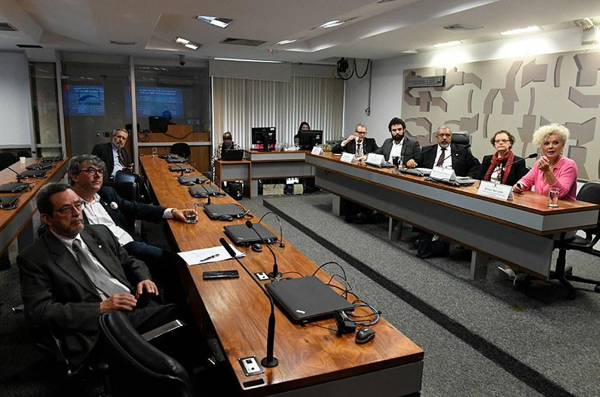 Comissão de Direitos Humanos e Legislação Participativa (CDH) realiza audiência pública interativa para tratar sobre redução na disponibilidade de medicamentos de alto custo.   Mesa: diretor de mercado e assuntos jurídicos do Sindicato da Indústria de Produtos Farmacêuticos (Sindusfarma), Bruno Abreu; representante do Instituto Brasileiro de Defesa do Consumidor (Idec), Matheus Falcão; presidente da CDH, senador Paulo Paim (PT-RS); conselheira nacional de Saúde, representante do Conselho Nacional de Saúde (CNS), Débora Raymundo Melecchi; coordenadora geral da Escola Nacional dos Farmacêuticos, Silvana Nair Leite - em pronunciamento.  Foto: Edilson Rodrigues/Agência Senado