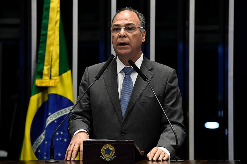 Plenário do Senado Federal durante sessão deliberativa ordinária.   Em discurso, à tribuna, senador Fernando Bezerra Coelho (MDB-PE).  Foto: Jefferson Rudy/Agência Senado