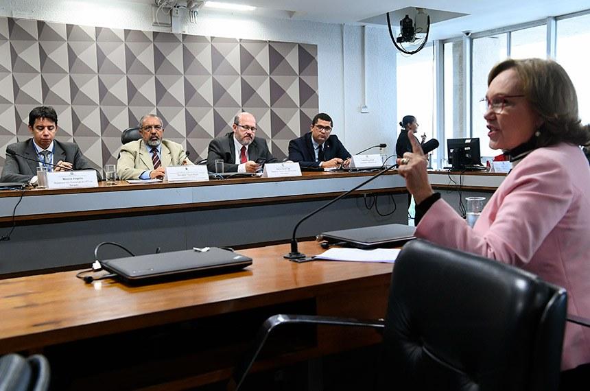 """Comissão de Direitos Humanos e Legislação Participativa (CDH) realiza audiência pública interativa para tratar sobre """"Previdência e Trabalho"""" balanço do resultado da PEC da previdência.  Mesa: assessor da Liderança do PT no Senado Federal, Marcos Rogério; presidente da CDH, senador Paulo Paim (PT-RS); assessor técnico da Câmara dos Deputados, Flávio Tonelli Vaz; assessor Parlamentar Leandro Lemos.  Em pronunciamento, à bancada, senadora Zenaide Maia (Pros-RN).  Foto: Geraldo Magela/Agência Senado"""
