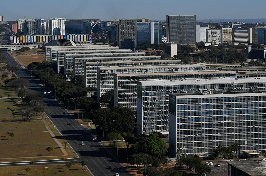 Banco de imagens externas (BIE) - Brasília vista de cima.   Esplanada dos Ministérios - Eixo Monumental.  Foto: Leopoldo Silva/Agência Senado