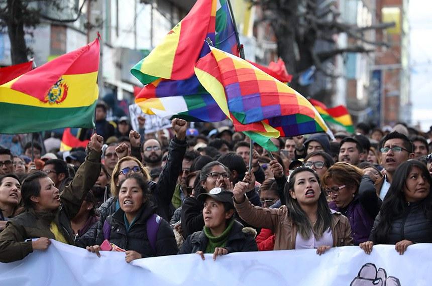 Manifestação pela democracia em El Alto