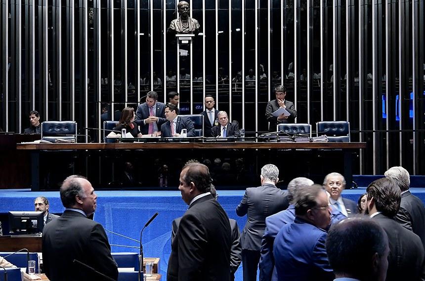 Plenário do Senado Federal durante sessão deliberativa extraordinária. Ordem do dia.   Mesa: senadora Simone Tebet (MDB-MS);  senador Marcos Rogério (DEM-RO); presidente do Senado Federal, senador Davi Alcolumbre (DEM-AP); senador Jayme Campos (DEM-MT); senador Tasso Jereissati (PSDB-CE).  Foto: Waldemir Barreto/Agência Senado