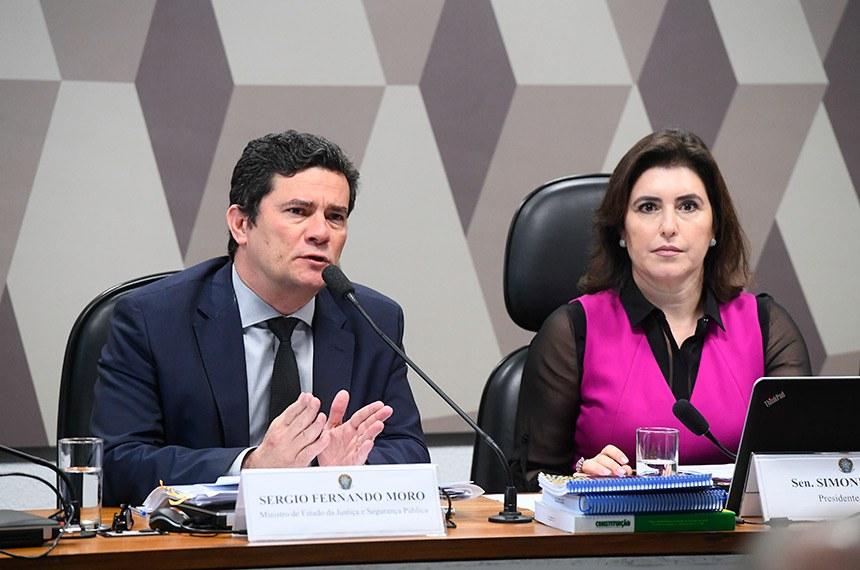 O ministro Sergio Moro e a presidente da CCJ, Simone Tebet