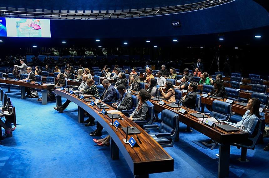Plenário do Senado Federal durante sessão de debates temáticos destinada a celebrar o Dia Internacional de Direitos Humanos e a População Negra.  Foto: Roque de Sá/Agência Senado