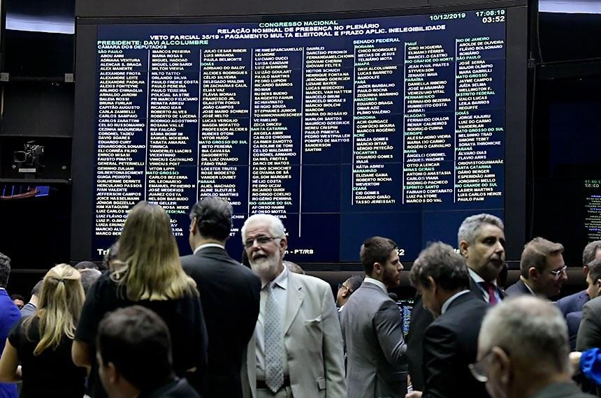Plenário da Câmara dos Deputados durante sessão conjunta do Congresso Nacional destinada à apreciação de destaques aos vetos 35 e 44 de 2019 e de projetos de créditos orçamentários.   Participa, deputado Jorge Solla (PT-BA).  Foto: Waldemir Barreto/Agência Senado