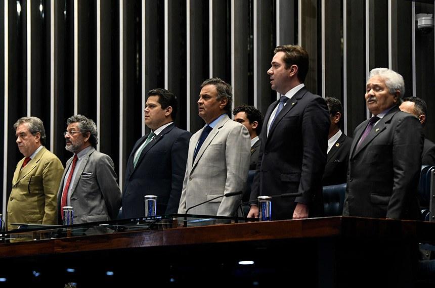 Plenário do Senado Federal durante sessão solene do Congresso Nacional destinada à promulgação da Emenda Constitucional nº 105 de 2019, que