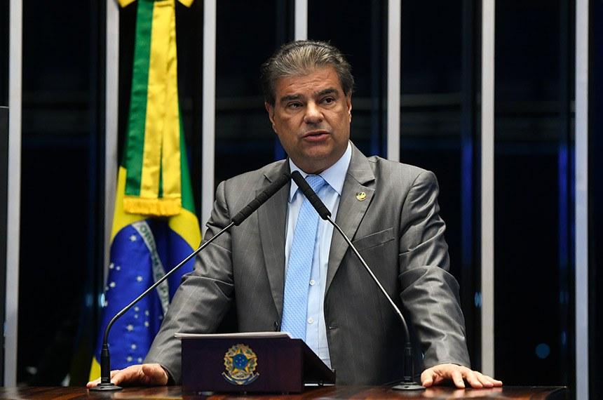 Plenário do Senado Federal durante sessão deliberativa extraordinária.   À tribuna, em discurso, senador Nelsinho Trad (PSD-MS).  Foto: Marcos Oliveira/Agência Senado