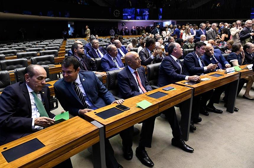 Plenário da Câmara dos Deputados durante sessão solene do Congresso Nacional destinada a inaugurar a 2ª Sessão Legislativa Ordinária da 56ª Legislatura.  Mesa: procurador-geral da República, Augusto Aras; 1ª secretária da Mesa do Congresso Nacional, deputada Soraya Santos (PR-RJ); presidente do Supremo Tribunal Federal (STF), ministro Dias Toffoli; presidente do Senado Federal, senador Davi Alcolumbre (DEM-AP); presidente da Câmara dos Deputados, deputado Rodrigo Maia (DEM-RJ); ministro-chefe da Casa Civil, Onyx Lorenzoni.  Foto: Roque de Sá/Agência Senado