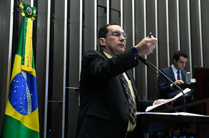 Plenário do Senado Federal durante sessão não deliberativa.   Em discurso, à tribuna, senador Jorge Kajuru (Cidadania-GO).  Foto: Marcos Oliveira/Agência Senado