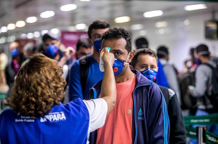 Belem PA 22 03 2020-Sespa reforça prevenção ao Coronavírus no aeroporto e terminais rodoviário e hidroviário foto Marco Santos /Agencia Pará