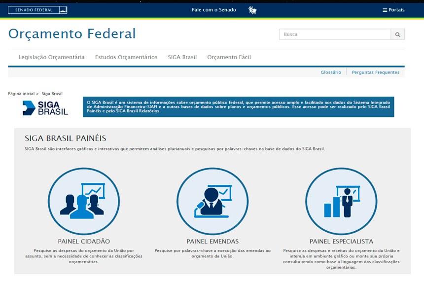 Página do SIGA Brasil Painel Cidadão