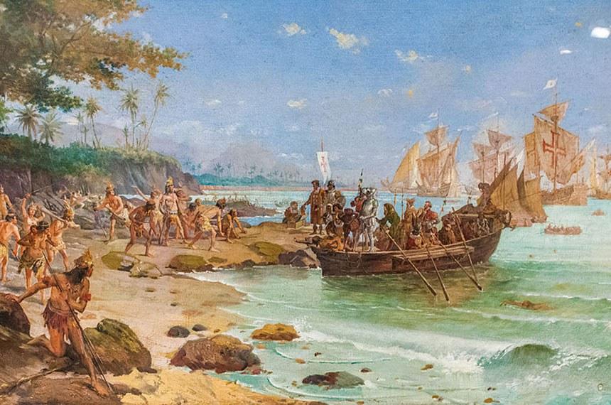 Desembarque de Cabral em Porto Seguro (óleo sobre tela), autor: Oscar Pereira da Silva, 1904. Acervo do Museu Histórico Nacional, Rio de Janeiro.
