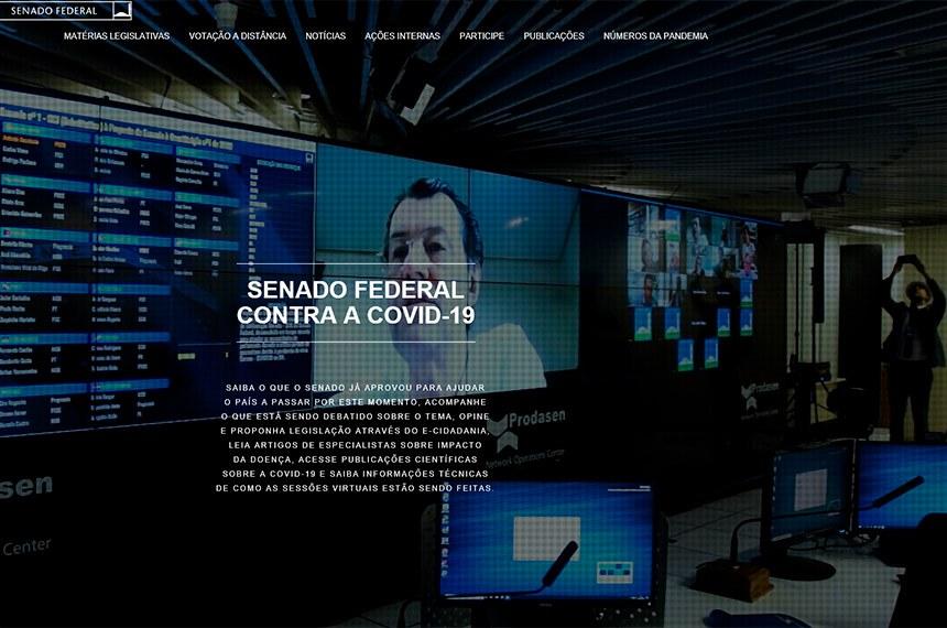 A página na internet reúne informações relacionadas ao assunto produzidas por diversas áreas do Senado