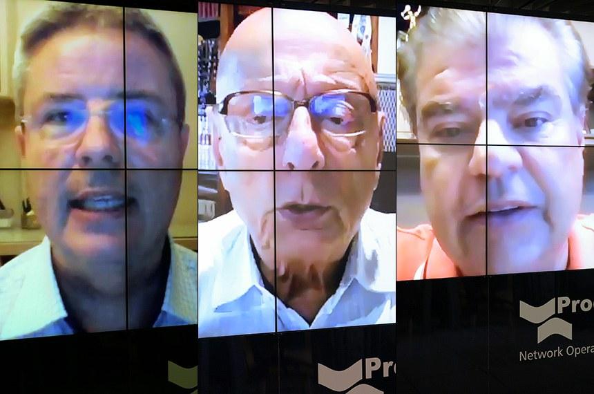 Sessão deliberativa remota (SDR) do Senado Federal realizada a partir da sala de controle da Secretaria de Tecnologia da Informação (Prodasen).   Na pauta, sessão de debates temáticos para debater as perspectivas das eleições de 2020 e eventuais medidas legislativas necessárias.   em pronunciamento via videoconferência.   Foto: Pedro França/Agência Senado