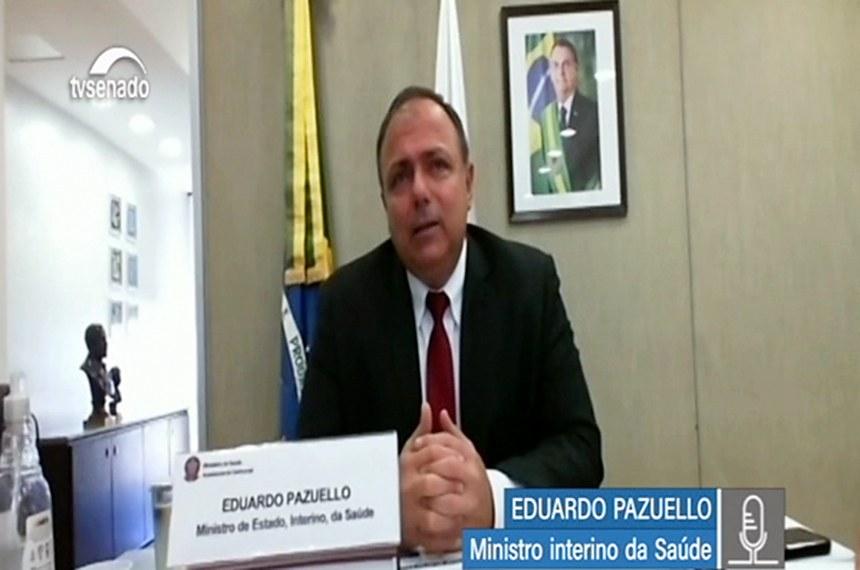 """Eduardo Pazuello, ministro interino da Saúde, considera que ritmo das despesas """"está bom"""""""