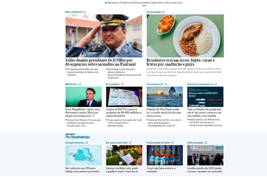 Reprodução do Portal de Notícias do Estadão.