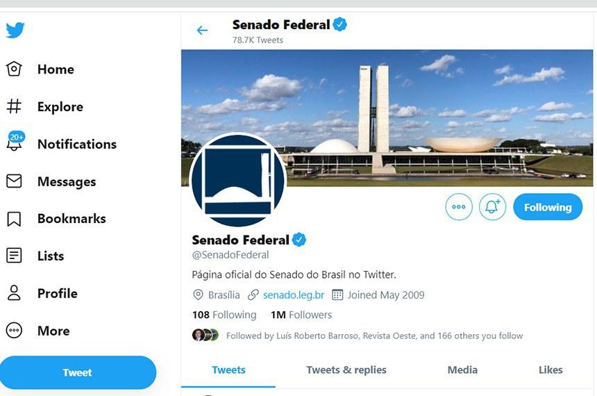 Perfil do Senado no Twitter (na imagem acima)
