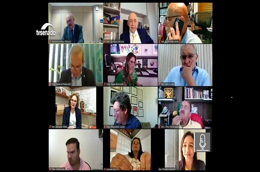 Ribeiro (1º acima à esq.) debate com senadores e deputados da comissão