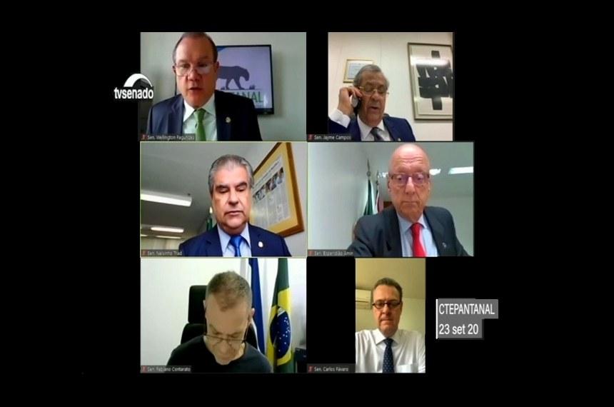 Wellington (no alto, à esq.) preside a comissão, que também conta com Jayme Campos, Nelsinho Trad, Esperidião Amin, Fabiano Contarato e Carlos Fávaro