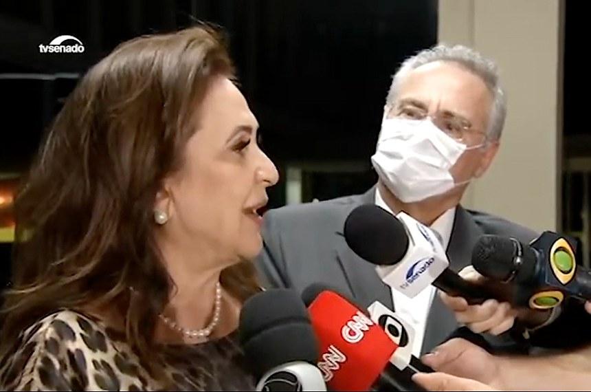 Kátia Abreu e Renan Calheiros deram entrevista após encontro com o ministro da Economia, Paulo Guedes
