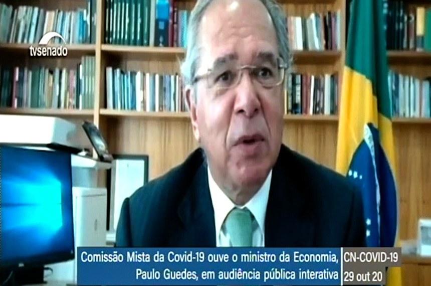 Ministro da Economia, Paulo Guedes, participou por videoconferência de reunião da comissão mista que fiscaliza as ações de combate ao coronavírus