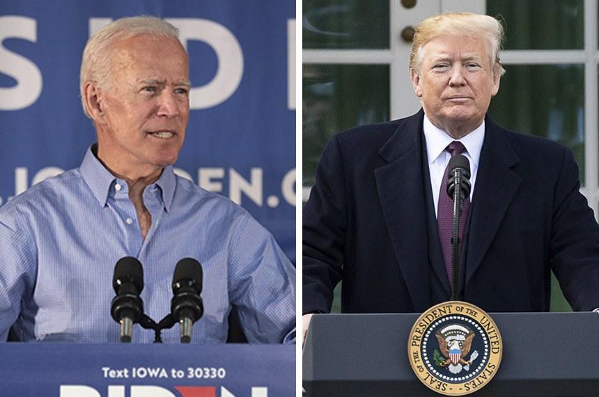Joe Biden, candidato do Partido Democrata, e Donald Trump, do Partido Republicano, que tenta a reeleição