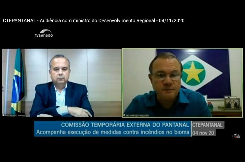Ministro do Desenvolvimento Regional, Rogério Marinho, e o presidente da comissão externa, Wellington Fagundes, em reunião remota do colegiado
