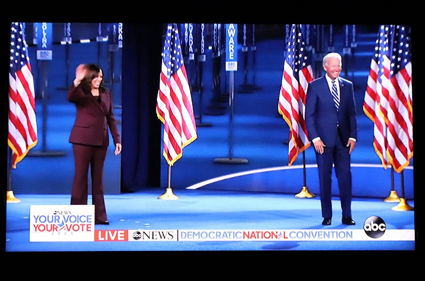 Joe Biden and Kamala Harris during Democratic National Convention on ABC News