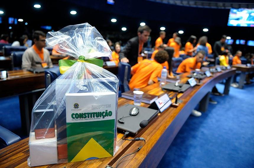 Plenário do Senado Federal durante sessão especial de posse dos Jovens Senadores 2016 e eleição da Mesa Jovem.   Foto: Pedro França/Agência Senado