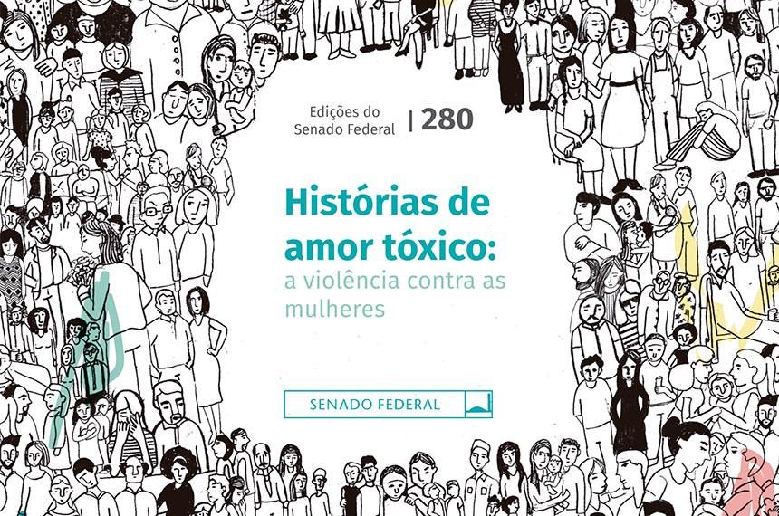 Detalhe da capa do livro, parceria da Procuradoria da Mulher com o Observatório da Mulher contra a Violência, do Senado Federal