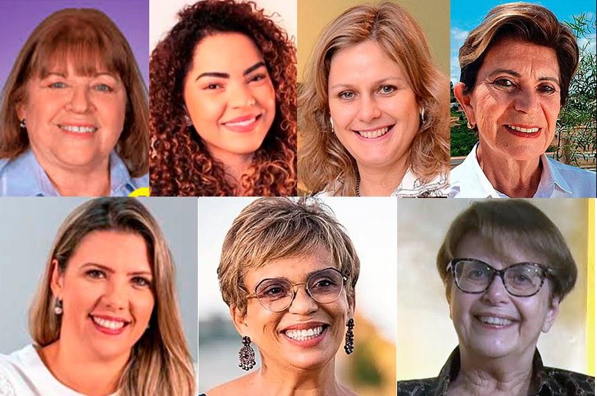 As prefeitas eleitas em 2º turno (da esq. para a dir.): em cima, Raquel Chini, Praia Grande (SP), Suéllen Rosin, Bauru (SP), Paula Mascarenhas, Pelotas (RS), e Professora Elizabeth, Ponta Grossa (PR); abaixo, Elisa Araújo, Uberaba (MG), Marília Campos, Contagem (MG), e Margaria Salomão, Juiz de Fora (MG)