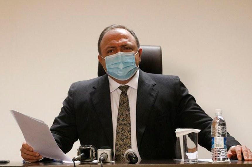 O ministro da Saúde, Eduardo Pazuello, em entrevista coletiva no Instituto de Traumatologia e Ortopedia (Into) no Rio de Janeiro.