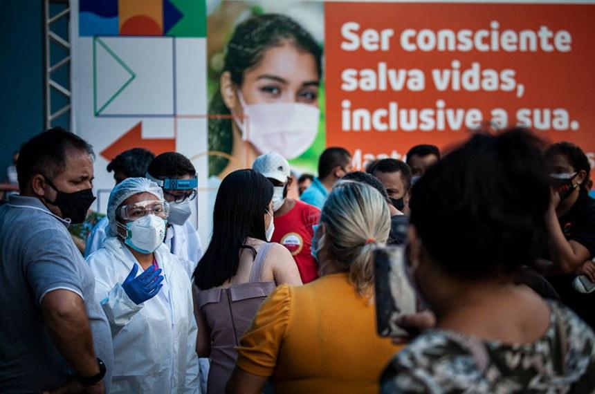Unidade Básica de Saúde Nilton Lins, na zona centro sul de Manaus. Manaus enfrenta o caos na saúde com a alta de casos na segunda onda de Covid-19. Falta de suplementos hospitalares como oxigênio têm contribuído para o aumento do número de mortos. (Foto: Raphael Alves/Amazônia Real)