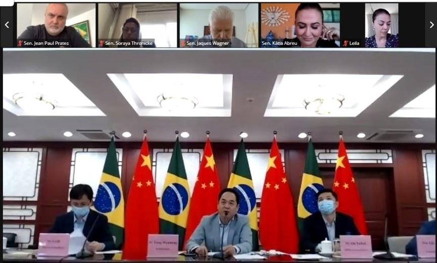 Senadores durante reunião online com embaixador chinês Yang Wanming