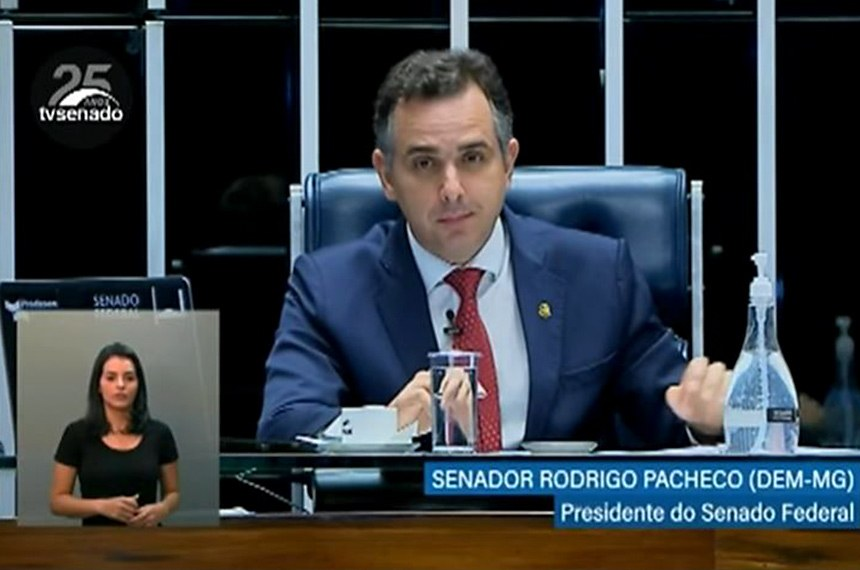 Pronunciamento de Rodrigo Pacheco é transmitido com tradução em Língua Brasileira de Sinais (Libras)