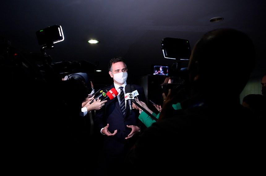 Presidente do Senado, senador Rodrigo Pacheco (DEM-MG), concede entrevista.  Foto: Marcos Brandão/Senado Federal