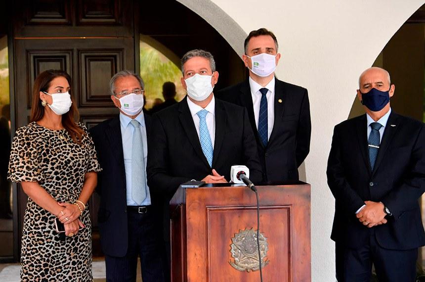 Rodrigo Pacheco se reuniu nesta quinta-feira (18) com a deputada Flávia Arruda, os ministros da Economia, Paulo Guedes, e da Secretaria de Governo, Luiz Eduardo Ramos, e com o presidente da Câmara, Arthur Lira