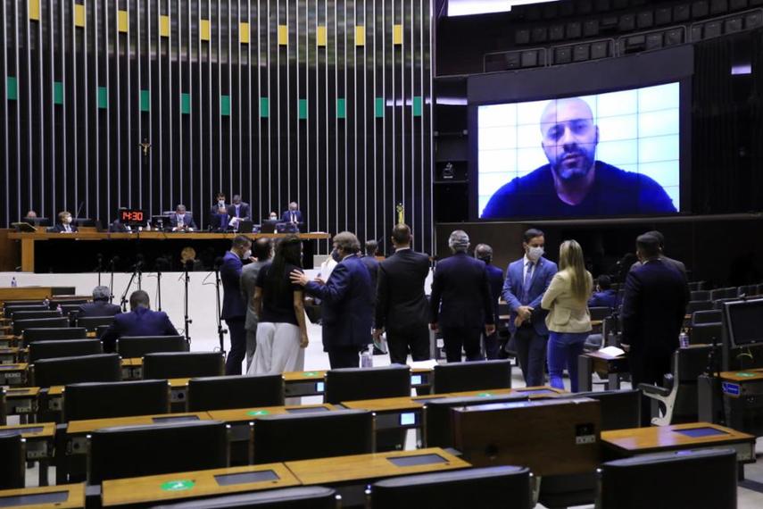 O deputado, que está em carceragem da PM no Rio, participou da sessão por meio remoto