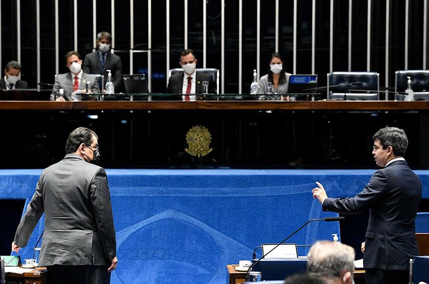 Votação do marco das startups foi adiada para melhor análise do texto pelos senadores. Projeto apresentado pelo presidente do Senado, Rodrigo Pacheco, que facilita a compra de vacinas,  está na pauta