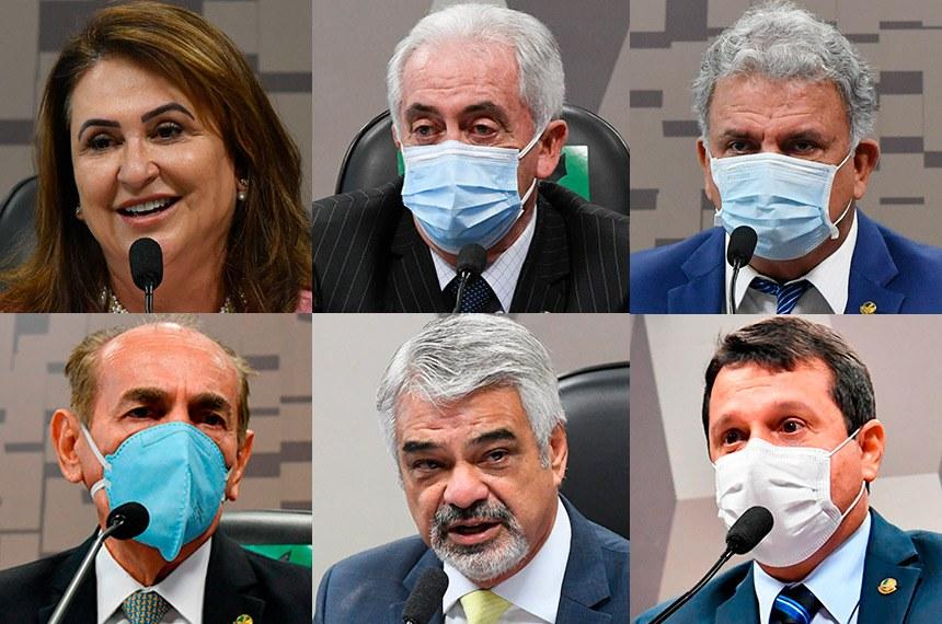 Kátia Abreu, Otto Alencar, Sérgio Petecão, Marcelo Castro, Humberto Costa e Reguffe (em sentido horário) foram eleitos, respectivamente, para presidir CRE, CAE, CAS, CE, CDH e CFC