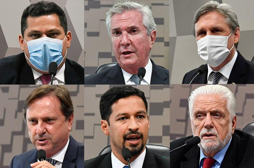 Davi Alcolumbre, Fernando Collor, Dário Berger (na fileira superior), Acir Gurgacz, Rodrigo Cunha e Jaques Wagner (na fileira inferior) foram eleitos, respectivamente, para presidir CCJ, CDR, CI, CRA, CCT e CMA