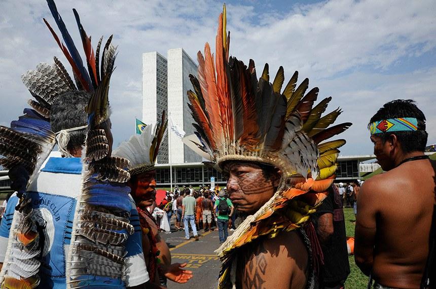 Índios de mais de 30 etnias fizeram  uma série de manifestações na Esplanada dos Ministérios contra projetos de lei que mudam os procedimentos de demarcação de terras indígenas no país. Os protestos, que, segundo a Polícia Militar (PM), reuniram cerca de 400 indígenas.