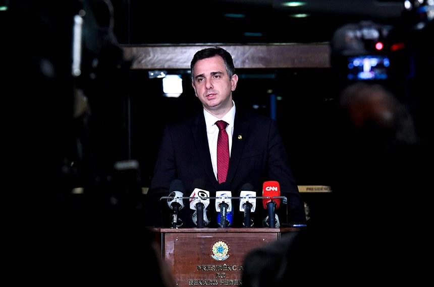 Presidente do Senado, senador Rodrigo Pacheco (DEM-MG) concede entrevista.   Foto: Waldemir Barreto/Agência Senado