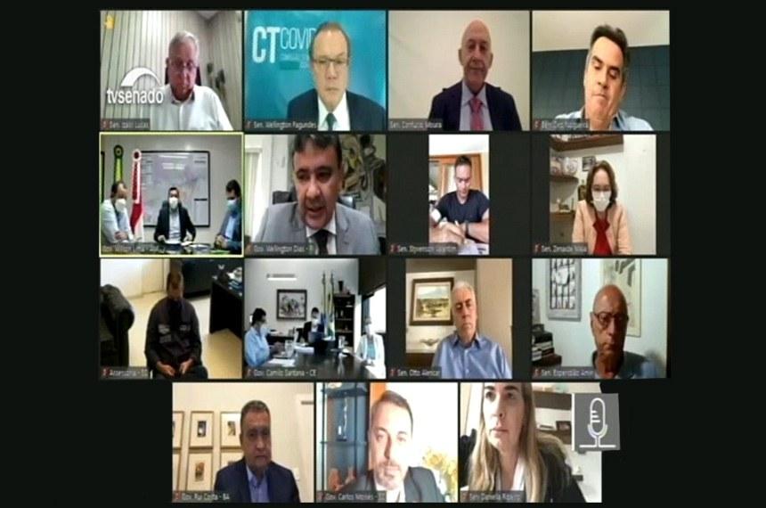 11.03.2021 A Comissão Temporária da Covid-19 realiza audiência com os governadores para debater dificuldades encontradas por estados no enfrentamento da pandemia e vacinação