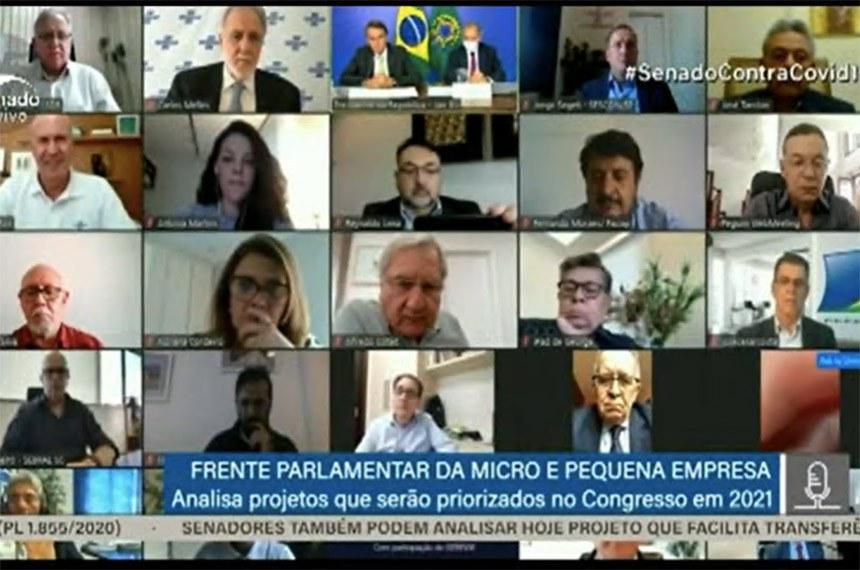 Frente Parlamentar da MPE: 1º Encontro Parlamentar para discutir pautas da Agenda de 2021  Foto: Reprodução TV Senado