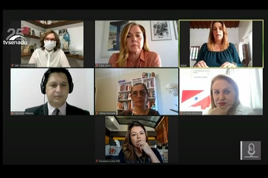 """OVM/CMCVM/DataSenado - """"Live"""" para apresentar o relatório intitulado """"Processo de Monitoramento e Avaliação das Políticas de Enfrentamento à Violência contra Mulheres – 2019/2020"""".  Reprodução/Tv Senado"""