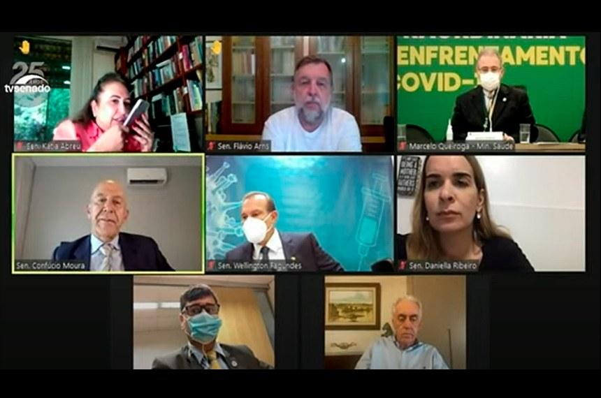 CTCOVID19: audiência com o ministro da Saúde, Marcelo Queiroga, para debater Plano Nacional de Imunização e medidas de combate à pandemia.  Foto: Reprodução/TvSenado