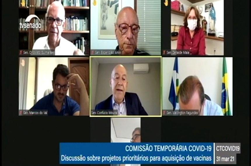 31.03.2021 CTCOVID19 (Comissão Temporária da Covid-19): reunião de trabalho para priorizar projetos considerados relevantes para aquisição de vacinas e apresentar estudos realizados pelos senadores.