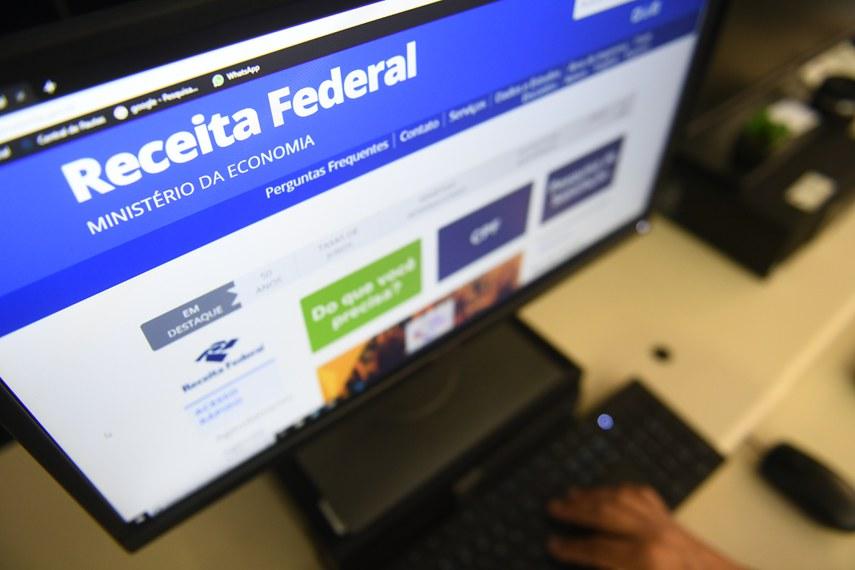 Site da Receita Federal, na página do Minstério da Economia, acessado por computador.  Foto: Marcos Oliveira/Agência Senado